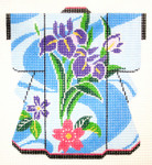KB34SKU Lee's Needle Arts  Swirly Blue w/ Flowers Kimono 18M 5i. x 6in, 18m