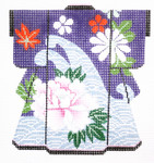 KB38SKU Lee's Needle Arts Wave with Purple Flower Kimono 18M 5in. x 6in.
