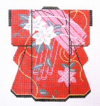 KB36SKU Lee's Needle Arts White Blossoms on Red Kimono 18M 5in. x 6in.