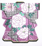 KB41SKU Lee's Needle Arts White Floralon Purple Kimono 18M 5in. x 6in.