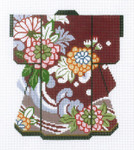 KB53SKU Lee's Needle Arts Zinnias on Maroon Kimono 18M 5in x 6in