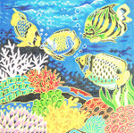 P1172SKU Lee's Needle Arts Tropical Fish Hand-painted canvas 12 Mesh 16X16