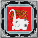 P1215SKU Lee's Needle Arts Elephant With Border Hand-painted canvas - 13 Mesh 12X12