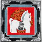 P1214SKU Lee's Needle Arts Horse With Border Hand-painted canvas - 13 Mesh 12X12