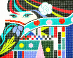 BF01SKU Lee's Needle Arts Lady Eyes Hand-painted canvas - 13 Mesh 10.25in. X 8.25in.
