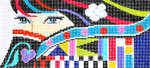 BR08SKU Lee's Needle Arts Lady Eyes Hand-painted canvas - 16 Mesh 8.25in. X 4in.
