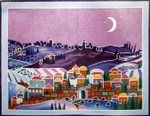 WH1332SKU Lee's Needle Arts Moonlit Village Scene  Hand-painted canvas - 13 Mesh 16in x 20inMoonlit Village Scene