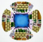 J208SKU Lee's Needle Arts Yarmulke Hand Painted Canvas - 18 Mesh 7.5in Round