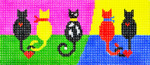 BB51SKU Lee's Needle Arts 5 Cats Hand-painted canvas - 18 Mesh 6in. X 2.75in.