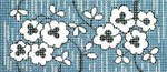 BB58SKU Lee's Needle Arts Floral On Gray Hand-painted canvas - 18 Mesh 6in. X 2.75in.