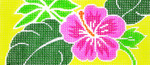 BB69SKU Lee's Needle Arts Hibiscus Hand-painted canvas - 18 Mesh 6in. X 2.75in.