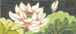 BB25SKU Lee's Needle Arts   Lotus Hand-painted canvas - 18 Mesh 6in. X 2.75in.