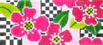 BB33SKU Lee's Needle Arts Pink Floral Hand-painted canvas - 18 Mesh 6in. X 2.75in.