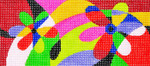 BB61SKU Lee's Needle Arts Geometric Floral Hand-painted canvas - 18 Mesh 6in. X 2.75in.