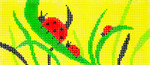 BB68SKU Lee's Needle Arts Ladybugs Hand-painted canvas - 18 Mesh 6in. X 2.75in