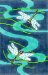 BC04SKU Lee's Needle Arts Blue Dragon Flies Hand-painted canvas - 18 Mesh Use canvas with Leather Goods BAG49 3.5in. x 5in.