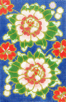 BC33SKU Lee's Needle Arts Cloisonne Peony Hand-painted canvas - 18 Mesh Use canvas with Leather Goods BAG49 3.5in. x 5in.