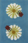 BC43SKU Lee's Needle Arts Daisies Hand-painted canvas - 18 Mesh Use canvas with Leather Goods BAG49 3.5in. x 5in.