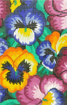 BC34SKU Lee's Needle Arts Pansy Hand-painted canvas - 18 Mesh Use canvas with Leather Goods BAG49 3.5in. x 5in.