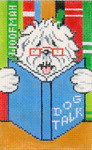 BD74SKU Lee's Needle Arts Dog Talk Hand Painted Canvas - 18 Mesh 5.25in x 3.25in