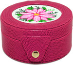 BAG29F Lee's Needle Arts GIFt Box/ Fuscia round 4in x 2in fully lined. Use BJ designs