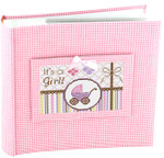 BAG56P Lee's Needle Arts Pink Gingham Photo Album Pink  9in x9in x 2in