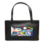 BAG47 Lee's Needle Arts Black Leather Purse W13.5in. x H8in. x D1.5in.