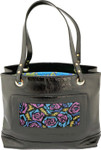 BAG54 Lee's Needle Arts Black Patent Leather Tote Bag 14in x 11in x 5in