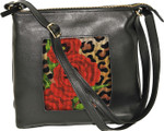 BAG36 Lee's Needle Arts Soft Black Leather Pouch, Adjustable Strap  W9in. x H9in. x D3in