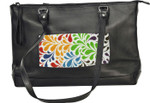 BAG46 Lee's Needle Arts Black Leather Tote Bag  W14.5in. x H10in. x D4`