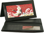 BAG09 Lee's Needle Arts Black Leather Checkbook Cover  W7in. x H3.5in