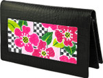 BAG23A Lee's Needle Arts Black Alligator Leather Wallet W7in. x H4.5in.