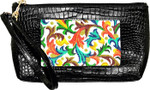 BAG44A Lee's Needle Arts Alligator Black Wrist Bag W7.5in. x H5in.