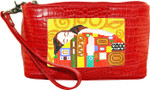 BAG44AR Lee's Needle Arts Red Alligator Wrist Bag Use BDs W7.5in. x H5in.
