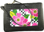 BAG45A Lee's Needle Arts Black Alligator Leather Cosmetic Bag W8in. x H5in. x D2in.