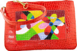 BAG45AR Lee's Needle Arts Red Alligator Leather Cosmetic Bag W8in. x H5in. x D2in.