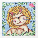 AO1304SKU Lee's Needle Arts Lester the Lion Hand-Painted Canvas - 13 Mesh 7in X 7in