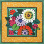 P1245 Lee's Needle Arts Daisies with Yellow Border Pillow  Hand-painted canvas - 13 Mesh