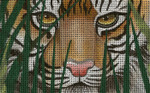 BD84SKU  Lee's Needle Arts A Tiger Awaits - Leigh Design Exclusive  Hand-painted canvas - 18 Mesh 2011 5.25in x 3.25in
