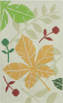 BD92SKU Lee's Needle Arts Autum Leaves Hand-painted canvas - 18 Mesh 2012 5.25in x 3.25in