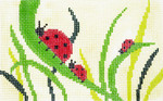BD66SKU Lee's Needle Arts Blue Ladybugs Hand-painted canvas - 18 Mesh 5.25in. X 3.25in.