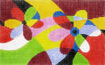BD60SKU Lee's Needle Arts Geometric Floral Hand-painted canvas - 18 Mesh 5.25in. X 3.25in.