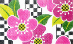 BD42SKU Lee's Needle Arts Pink Floral Hand-painted canvas - 18 Mesh 5.25in. X 3.25in.