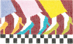 BD27SKU Lee's Needle Arts  Fancy Feet Hand-painted canvas - 18 Mesh 5.25in. X 3.25in.