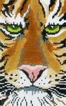 BD69SKU Lee's Needle Arts Tiger Face Hand Painted Canvas - 18 Mesh 5.25in x 3.25in