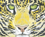 P944-W Lee's Needle Arts Tree  Jaguar Face Hand Painted Canvas - 12 Mesh 18in x 15i
