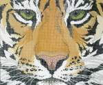 P946-W Lee's Needle Arts Tiger Face Hand-painted canvas - 12 Mesh 18in. X 15in