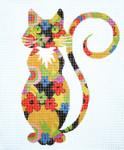 AO1315SKU Lee's Needle Arts Flower Power Cat 18M 5.5in x 6.5in.