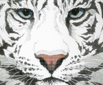 P945-W Lee's Needle Arts White Tiger Hand Painted Canvas - 12 Mesh 18in x 15in