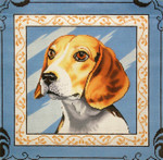 P1261 Lee's Needle Arts Beagle. Hand-painted canvas - 13 Mesh 2012 12in x 12in